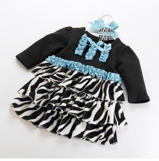 Toddler Dress - Zebra Velour Tiers  SOLD OUT
