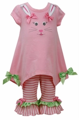 Toddler or Little Girls Easter Bunny Face Legging Set