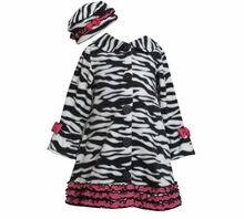 Girl's Zebra Fleece Coat with Hat  CLEARANCE