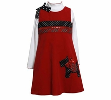 Toddler Girl's Red Corduroy Jumper with Scotty Pocket Applique - sold out