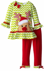 Rare Editions Little Girls Christmas Outfit Lime Reindeer 2T - 6X