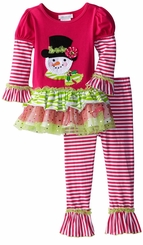 Toddler Girls Holiday Pant Set Fuchsia Zebra Snowman Legging Set