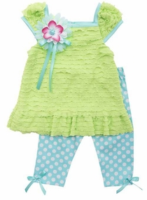 Rare Editions Little Girls Lime Eyelash top Polka Dot Capri Set