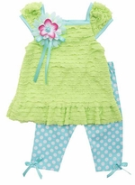 Toddler Girls Lime Eyelash top Polka Dot Capri Set