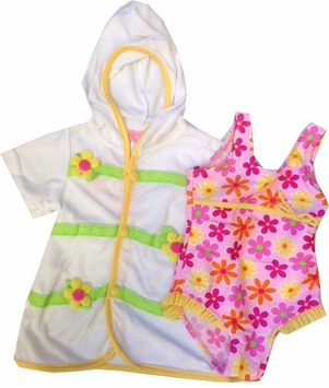 Toddler Girls Pink Daisy Swimsuit and Robe Set  24M LAST ONE