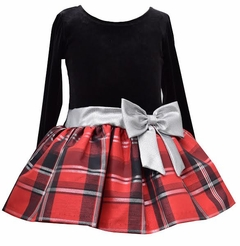 Toddler Girls Red and Black Plaid Taffeta Dress with Silver Bow