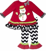Toddler Girls Red Snowman Chevron Pant Set - SOLD OUT