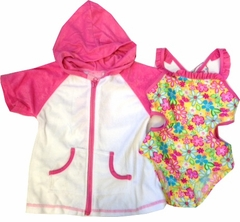 Toddler Girls Swimsuit Set -  Daisy Butterfly Back One Piece and Robe - sold out