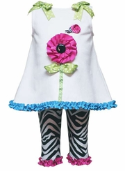 Toddler Girls White Top with Zebra Legging Set  2T