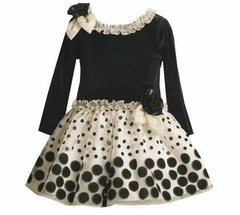 Toddler Holiday Dress - Black Velour and Ivory Dot Dress - SOLD OUT