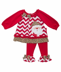 Toddler Little Girls Chevron Cheetah Print Santa Legging Set