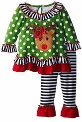 Toddler Little Girls Green Dot Reindeer Pant Set - SOLD OUT