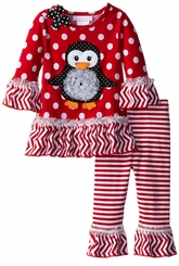 Toddler Little Girls Holiday Pant Set Red Penguin Dot Stripe Pant Set