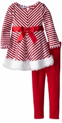 Little Girls Holiday Pant Set - Red White Chevron Sequined Tunic Set