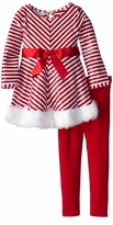 Toddler Little Girls Holiday Pant Set - Red White Chevron Sequined Tunic Set