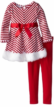 Toddler Little Girls Holiday Pant Set - Red White Chevron Sequined Tunic Set - SOLD OUT