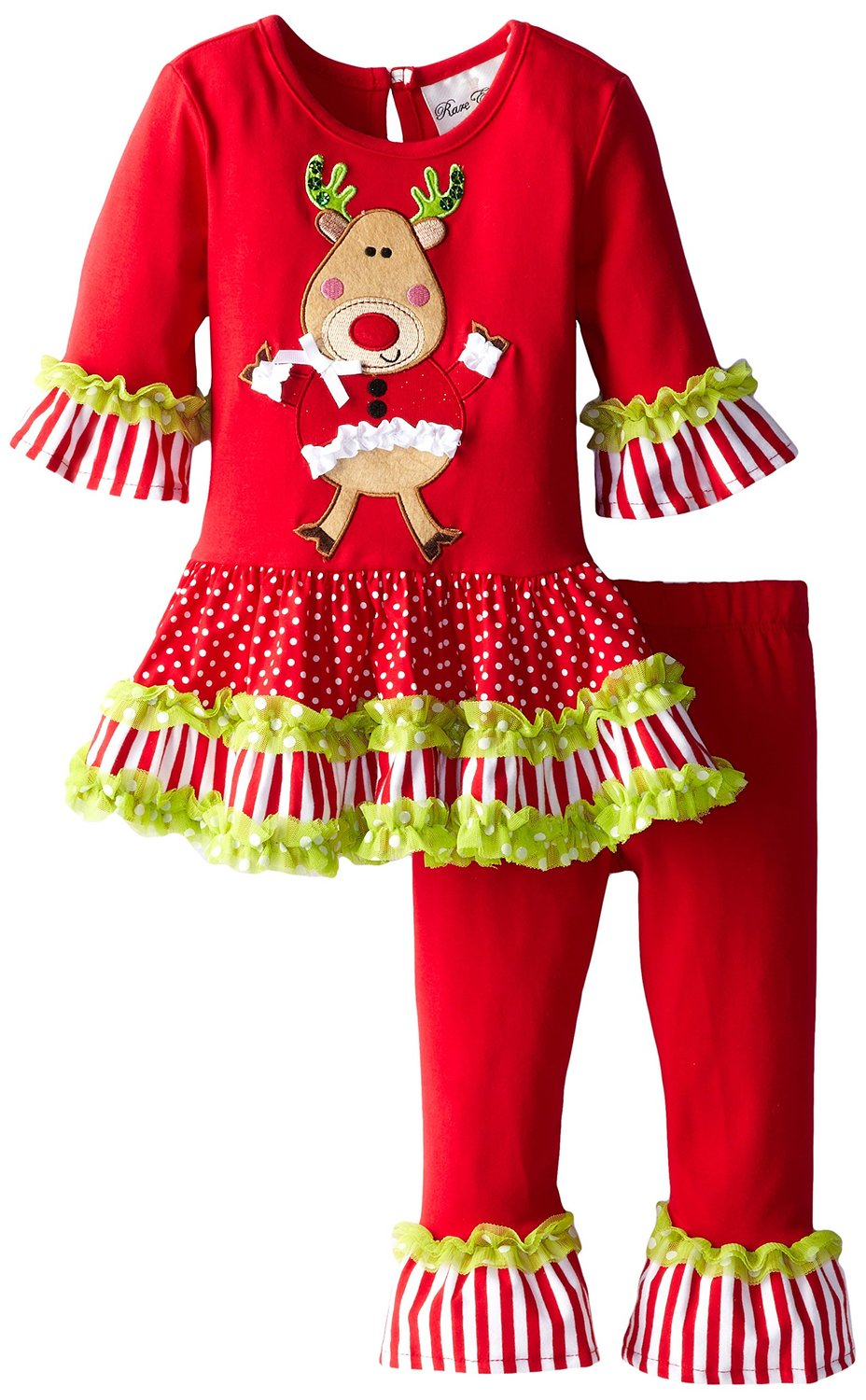 Rare Editions Toddler Little Girls Lime Trim Dancing Reindeer Christmas Legging Set 6x