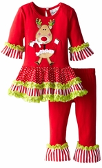 Toddler Little Girls Lime Trim Dancing Reindeer Christmas Legging Set