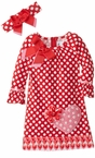 Big Girls Valentine's Dress Dot Heart with Headband