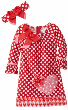 Big Girls Valentine's Dress Dot Heart with Headband - sold out