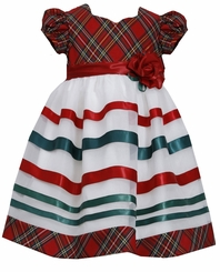 Toddler Little Girls Taffeta Plaid Ribbon Dress - Christmas Dress - sold out