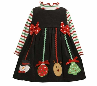 Toddler or Girls Christmas Dress - Black Corduroy Jumper with Hanging Ornaments SOLD OUT