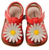 Toddler or Girls Coral Sandals -  Daisy Flower Leather