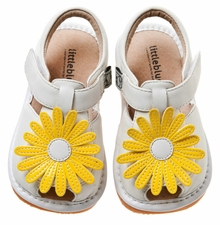 Toddler or Girls White Sandals - Yellow Daisy Leather - sold out