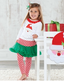 Toddler or Infant Girl's Christmas Outfits: Mud Pie Green Pettiskirt Santa Applique Set
