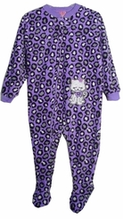 Toddler Pajamas - Footed PJS Purple Leopard Kitty Cat