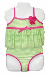 Total Girl Little Girls Lime Green 2pc Swimsuit