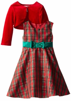 Baby Girls Traditional Plaid Holiday Dress with Red Cardigan