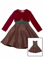 Traditional Plaid Holiday Dress with Red Cardigan