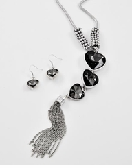 Triple Heart Long Pendant Necklace and Earring Set