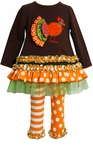Turkey Applique Brown Tunic Orange Striped Dot Leggings Set
