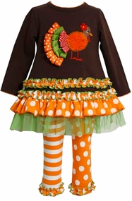 Turkey Applique Brown Tunic Orange Striped Dot Leggings Set - FINAL SALE