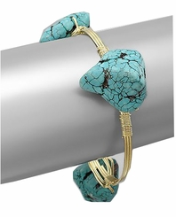 Turq Stone Gold Plated Wrapped Bangle