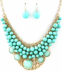 Turqoise Blue Bubble Necklace and Earring Set