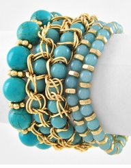 Turquoise Acrylic & Stone Stretch Stackable Bracelets