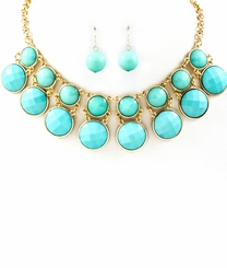 Turquoise and Gold Bib Necklace and Earring Set