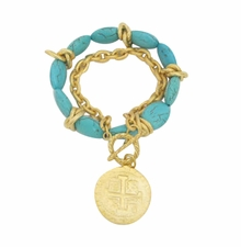 Turquoise and 18k Gold- Plated Coin Toggle Bracelet