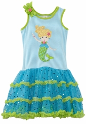Turquoise and Lime Mermaid Applique Dress  Girls 12 - 16
