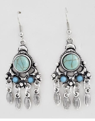 Turquoise and Silver Chandelier Earrings