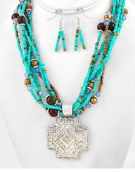 Turquoise Bead and Silver Cross Necklace and Earring Set