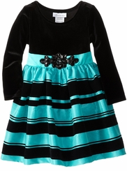 Turquoise Black Velvet Dress - Special Occasion Dress
