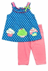 Turquoise Dot Cupcake Top With Pink Leggings SALE