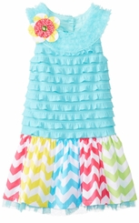 Girls-Toddler  Dress Turquoise Eyelash Dress  2T  FINAL SALE