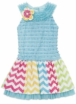 Turquoise Eyelash Bodice Chevron Woven Dress