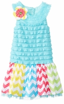Girls-Toddler Easter Dress Turquoise Eyelash Dress