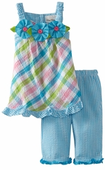 Turquoise Plaid Seersucker Capri Set With Ruffle Trim